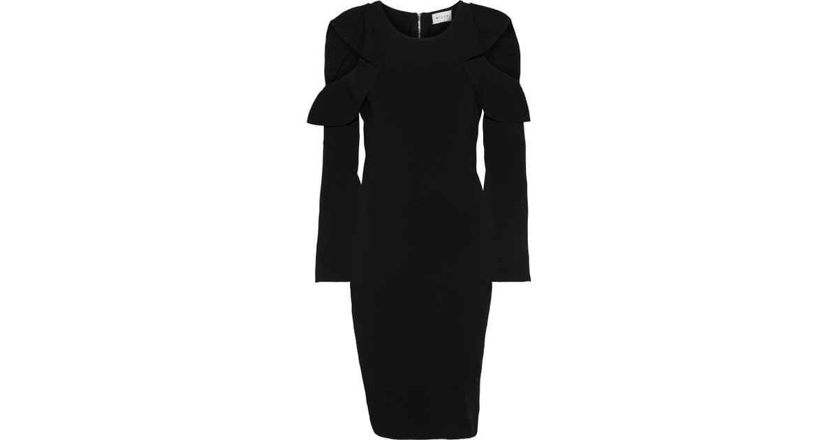 560e56478bde Lyst - MILLY Woman Cold-shoulder Ruffle-trimmed Stretch-knit Dress Black in  Black