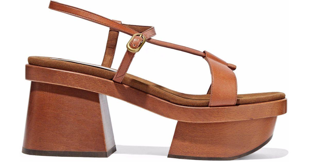ec6462a88efb2 Lyst - Stella McCartney Altea Faux Leather Platform Sandals in Brown