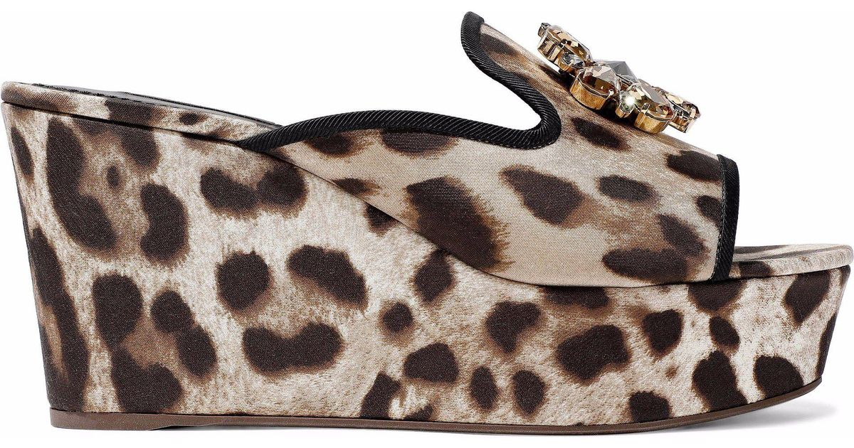 f5dcb2379bc Lyst - Dolce   Gabbana Woman Crystal-embellished Leopard-print Twill Wedge  Mules Animal Print in Brown