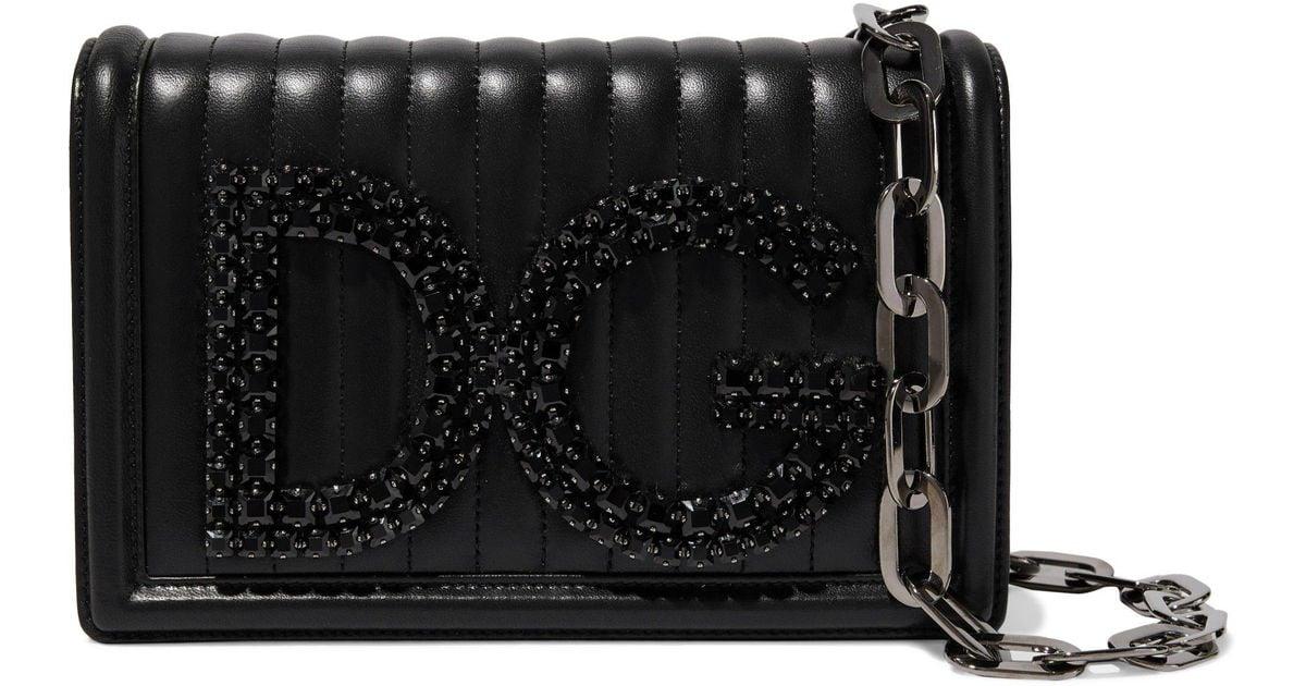 b5755687b82c Lyst - Dolce   Gabbana Woman Dg Girls Crystal-embellished Quilted Leather  Shoulder Bag Black in Black