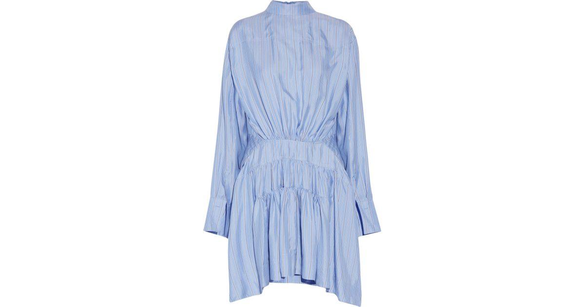 86c0ea63b3 Lyst - JW Anderson Open-back Striped Silk-satin Dress Sky Blue in Blue