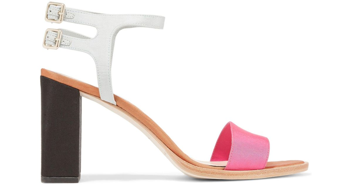 45c9c5fd0347 Loeffler Randall Sylvia Color-block Satin Sandals in Pink - Lyst