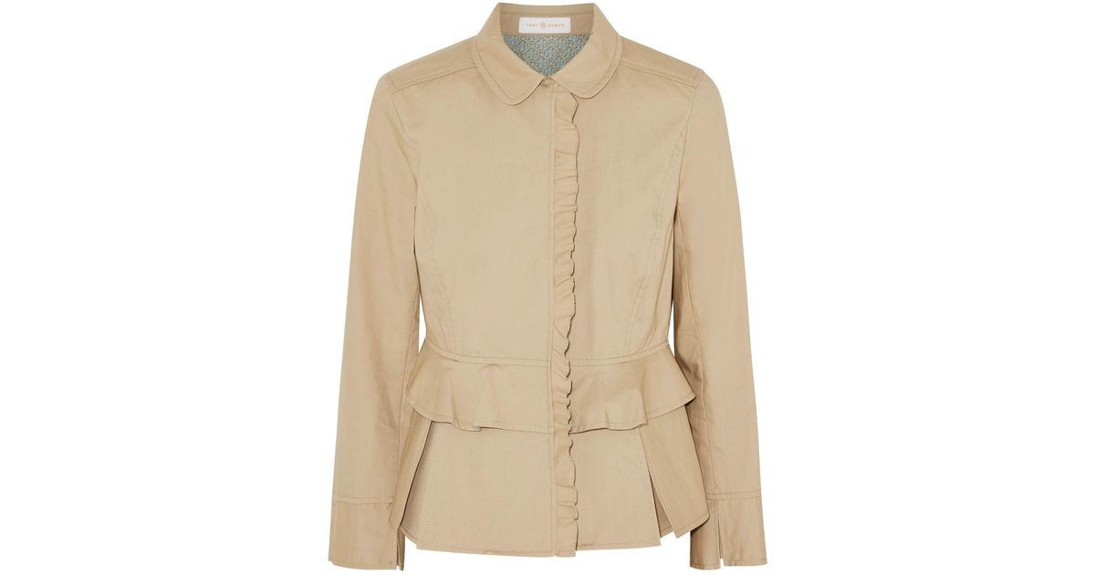 a9cc15a7f Lyst - Tory Burch Delia Pleated Cotton-poplin Jacket in Natural