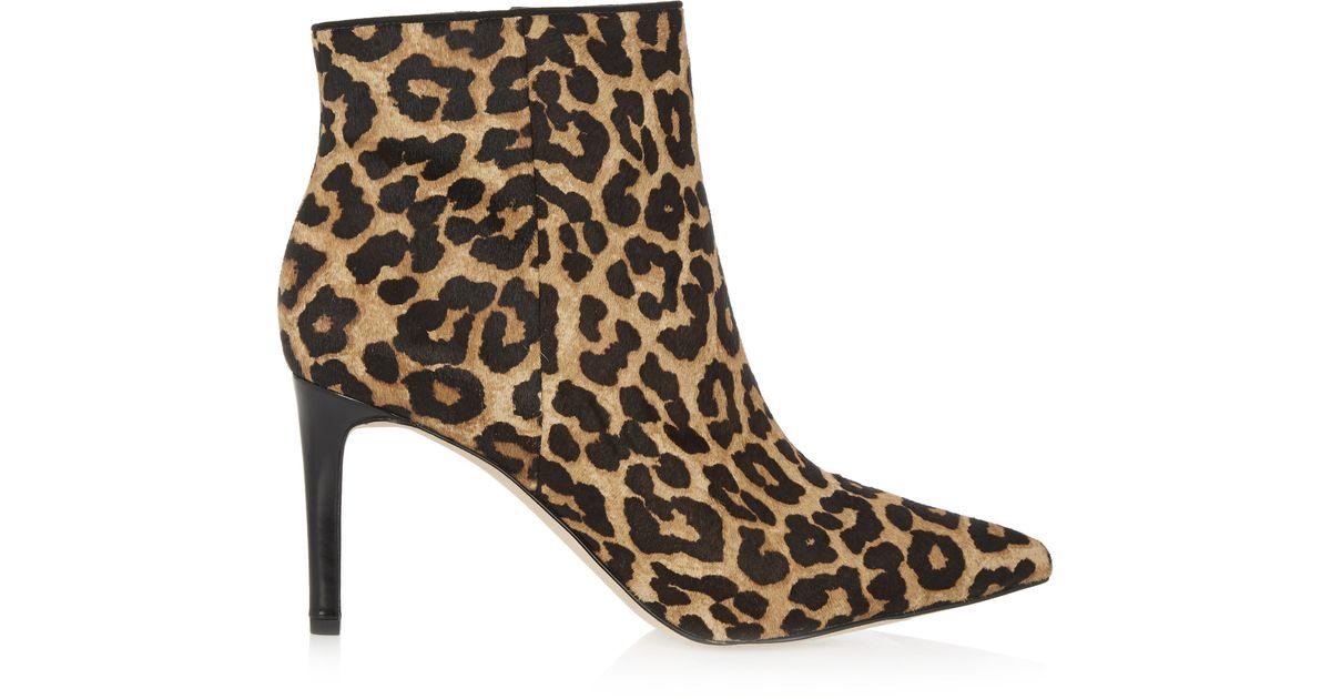 e2e1bfba5 Lyst - Sam Edelman Karen Leopard-print Calf Hair Ankle Boots