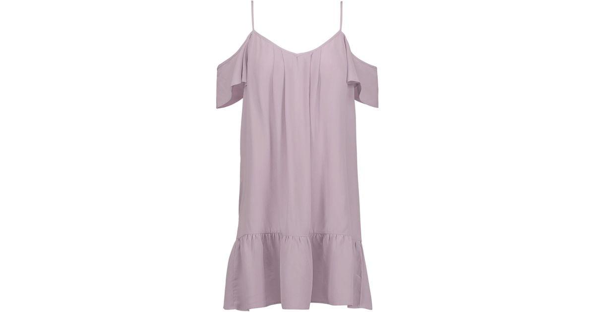 Joie Woman Cold-shoulder Silk Mini Dress Lilac Size L Joie NiooN