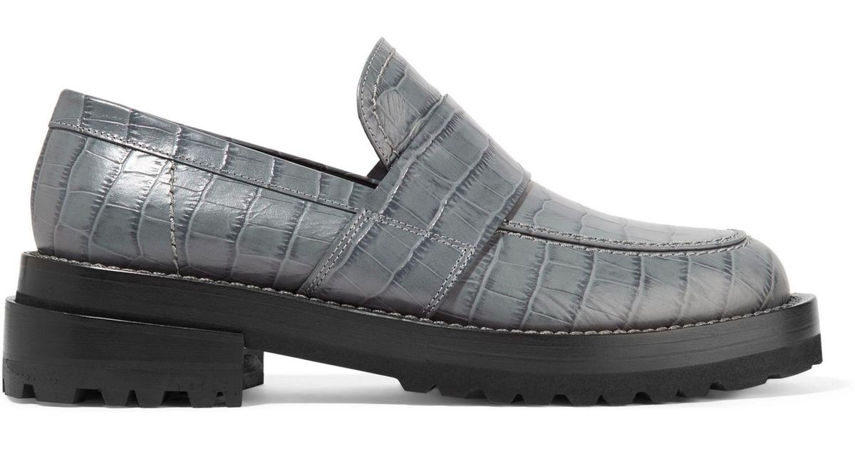 2317fa4cc0a Lyst - Marni Croc-effect Leather Loafers in Gray
