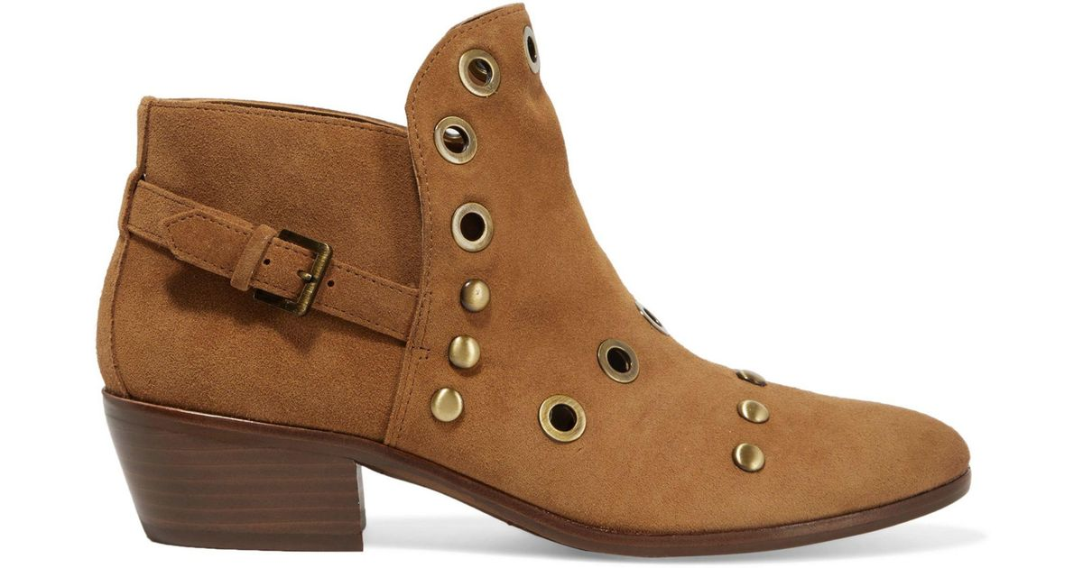 4843e6a24a2c69 Lyst - Sam Edelman Pedra Embellished Suede Ankle Boots in Brown