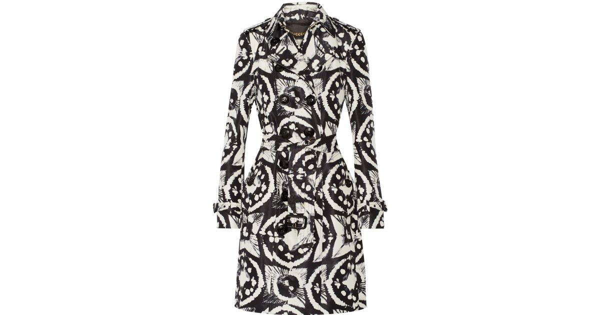Women's White Tie-dyed Silk-faille Trench Coat