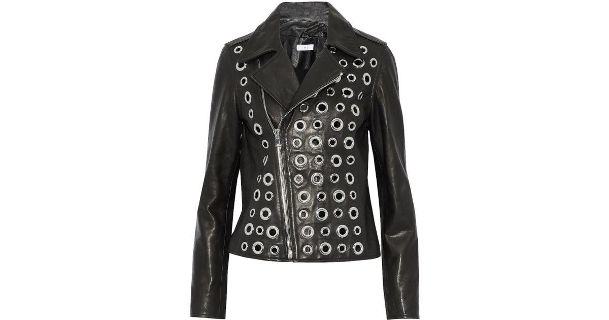 20e499bc0 RTA Eyelet-embellished Leather Biker Jacket Black