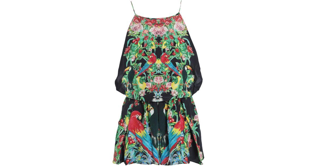 d7049ffa0e Lyst - Camilla Woman Animal Instinct Belted Embellished Printed Silk  Playsuit Black in Black