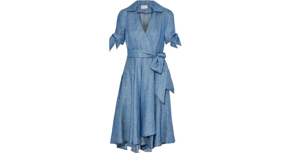 a64c8aac62b Lyst - MILLY Woman Valerie Linen-blend Chambray Wrap Dress Light Denim in  Blue