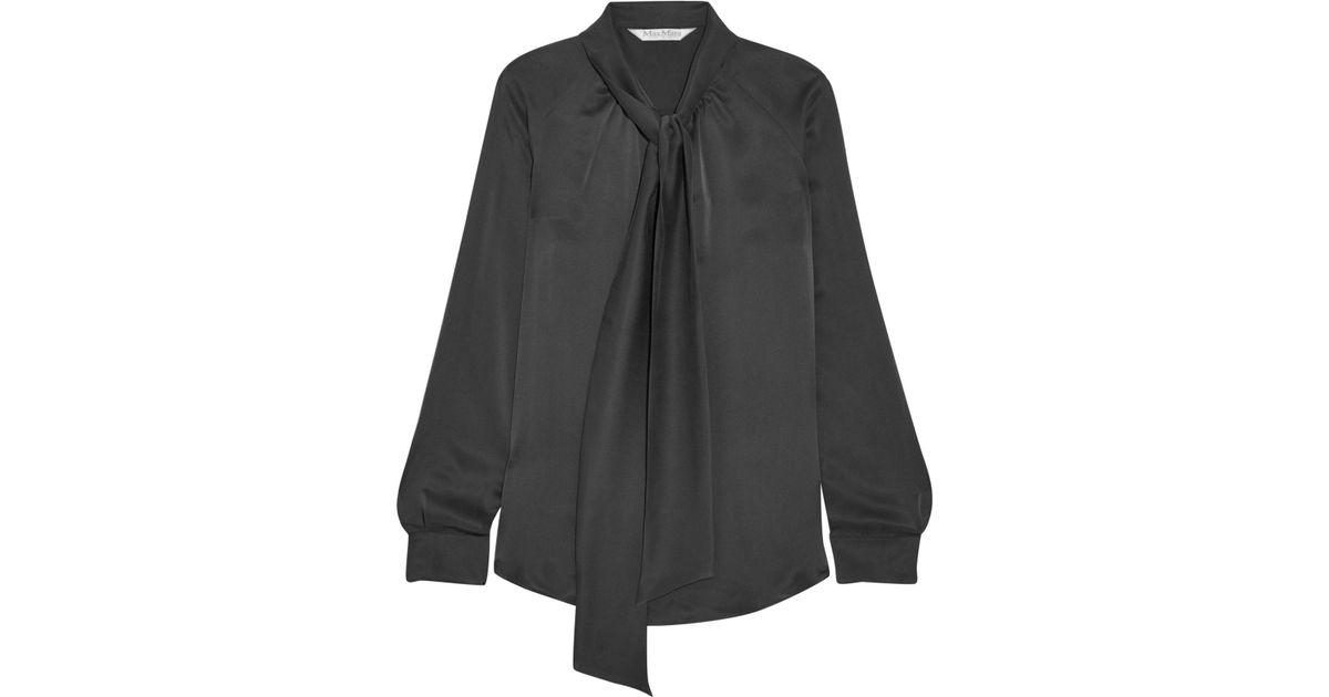 616f063ef146d Lyst - Max Mara Pussy-bow Silk-satin Blouse in Black