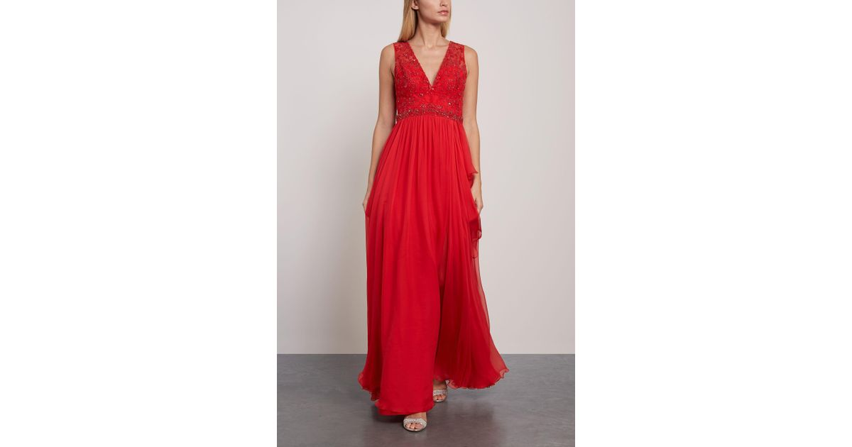 1ed8d44ff892 Lyst - Zuhair Murad Woman Kanshou Embellished Silk-chiffon And Tulle Gown  Red in Red