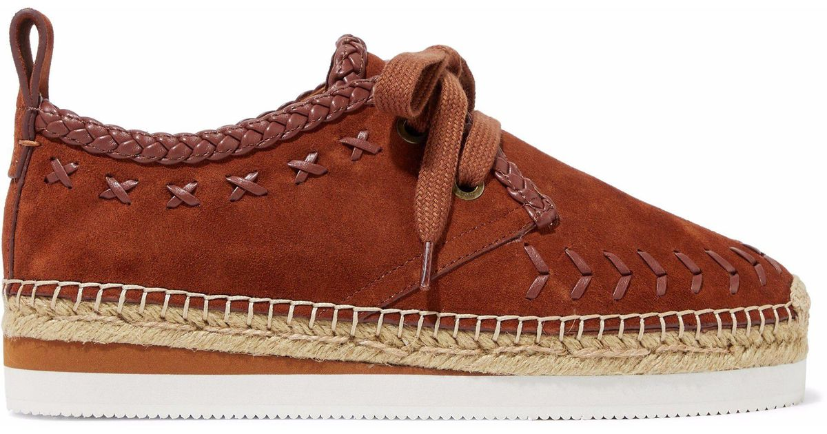 36e0821631 See By Chloé See By Chloé Woman Leather-trimmed Suede Platform Espadrille  Sneakers Brown in Brown - Lyst