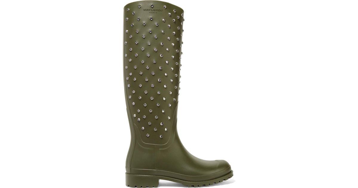 8a51baf23b2 Saint Laurent Festival Crystal-embellished Rubber Rain Boots Army Green in  Green - Lyst