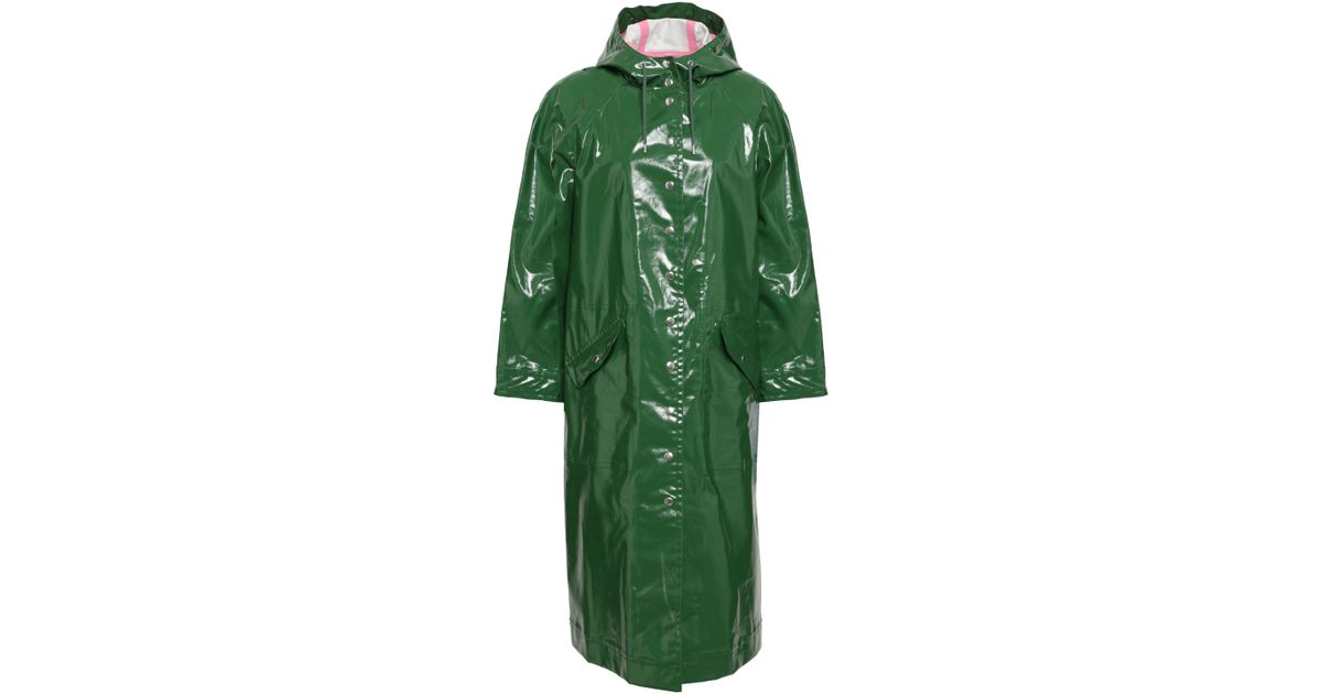 new styles original top-rated fashion AlexaChung Woman Coated Cotton-blend Hooded Raincoat Dark Green