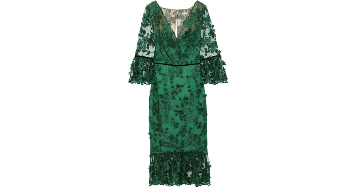 312cc21e Marchesa notte Woman Embellished Velvet-trimmed Tulle Midi Dress Emerald in  Green - Lyst