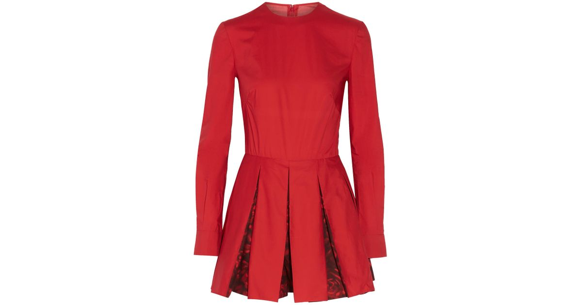 a3e919e809 Lyst - Valentino Pleated Cotton-poplin Playsuit in Red