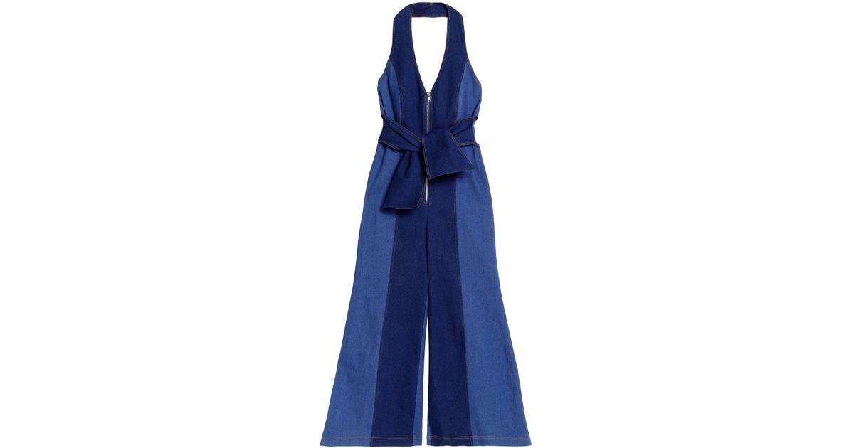 b62ac9b3344b Paper London Soleil Two-tone Denim Halterneck Jumpsuit Mid Denim in Blue -  Lyst