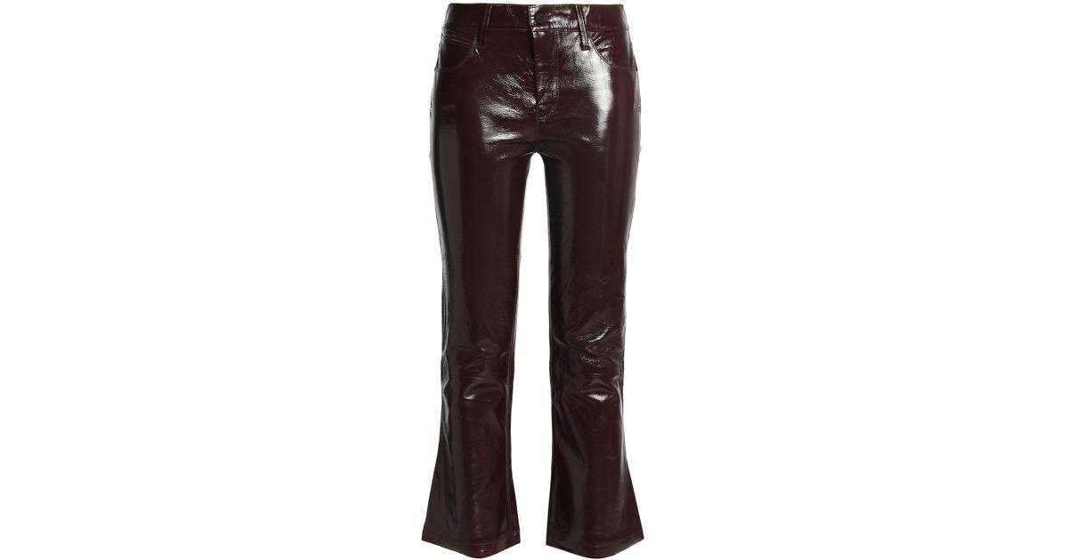 923c2df39f RTA Black Kiki Denim-trimmed Striped Leather Kick-flare Pants Merlot