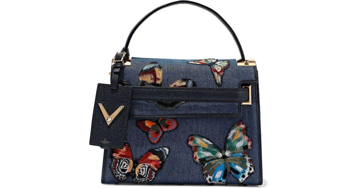 60545f0959d4 Lyst - Valentino Woman My Rockstud Textured Leather-paneled Embroidered  Denim Shoulder Bag Mid Denim in Blue
