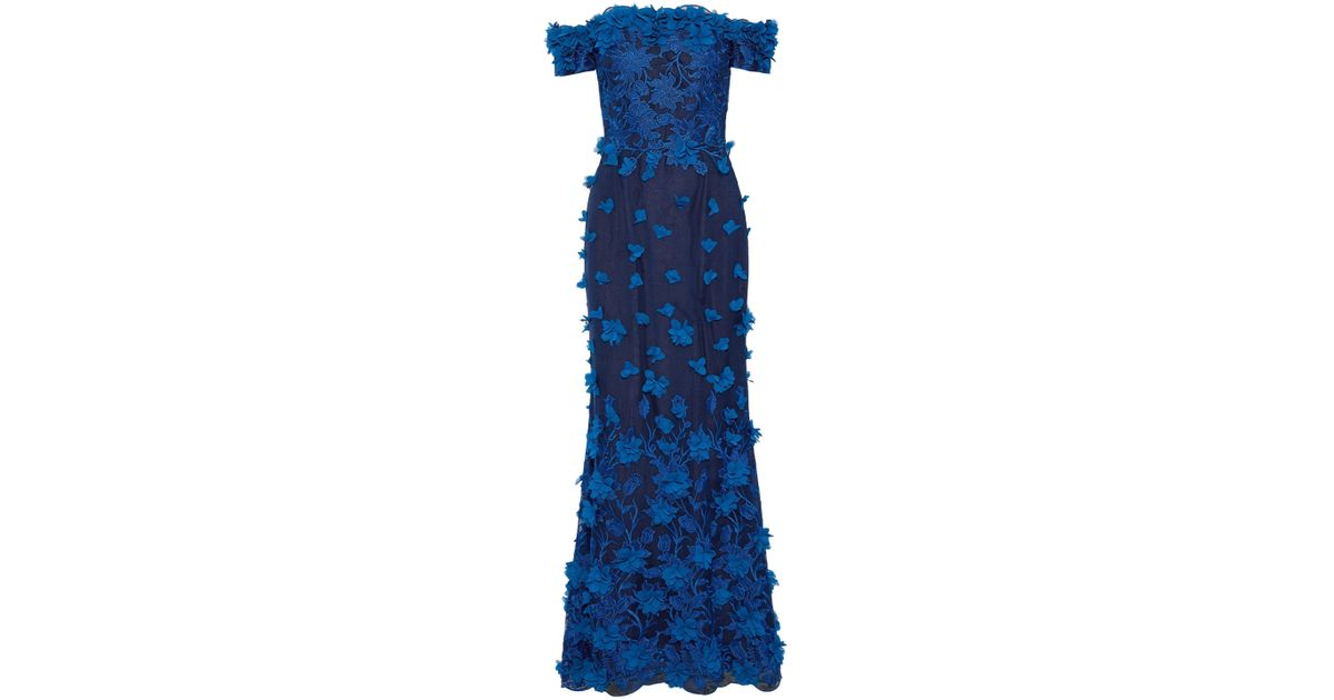 368eac4c Marchesa notte Woman Off-the-shoulder Appliquéd Embroidered Tulle Gown  Royal Blue in Blue - Lyst