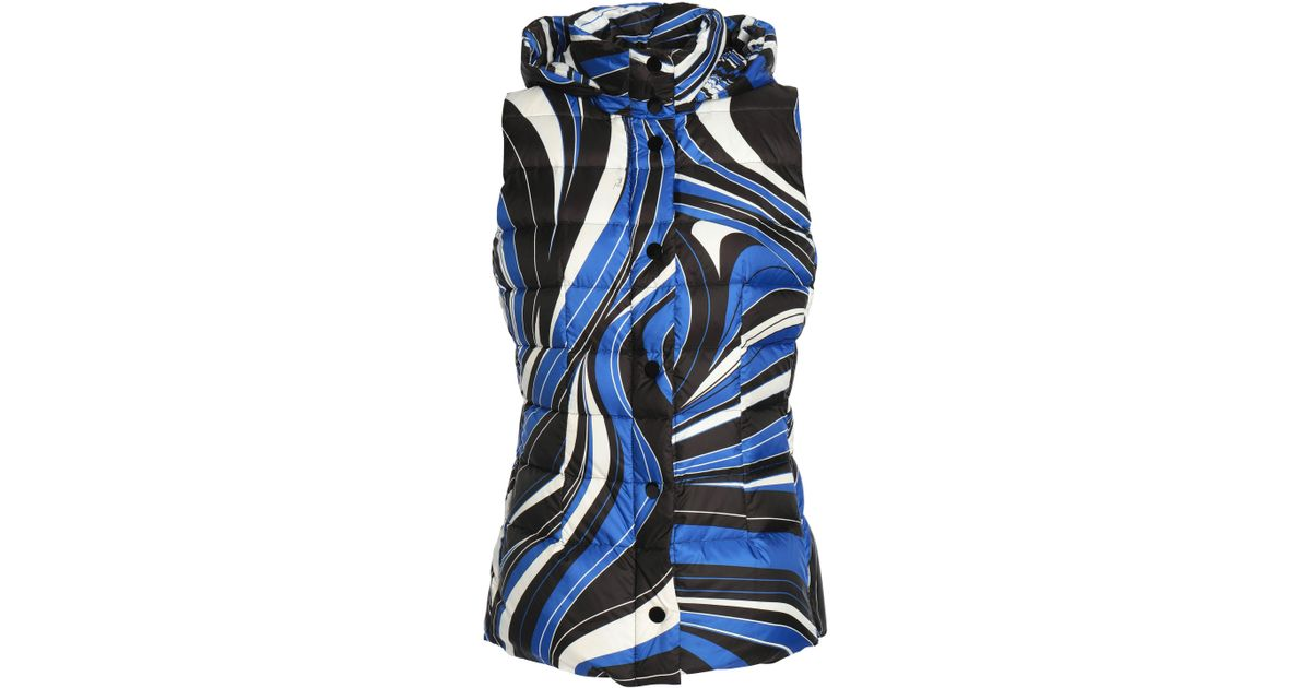 b19fbff15320 Lyst - Emilio Pucci Quilted Printed Shell Down Hooded Vest in Blue