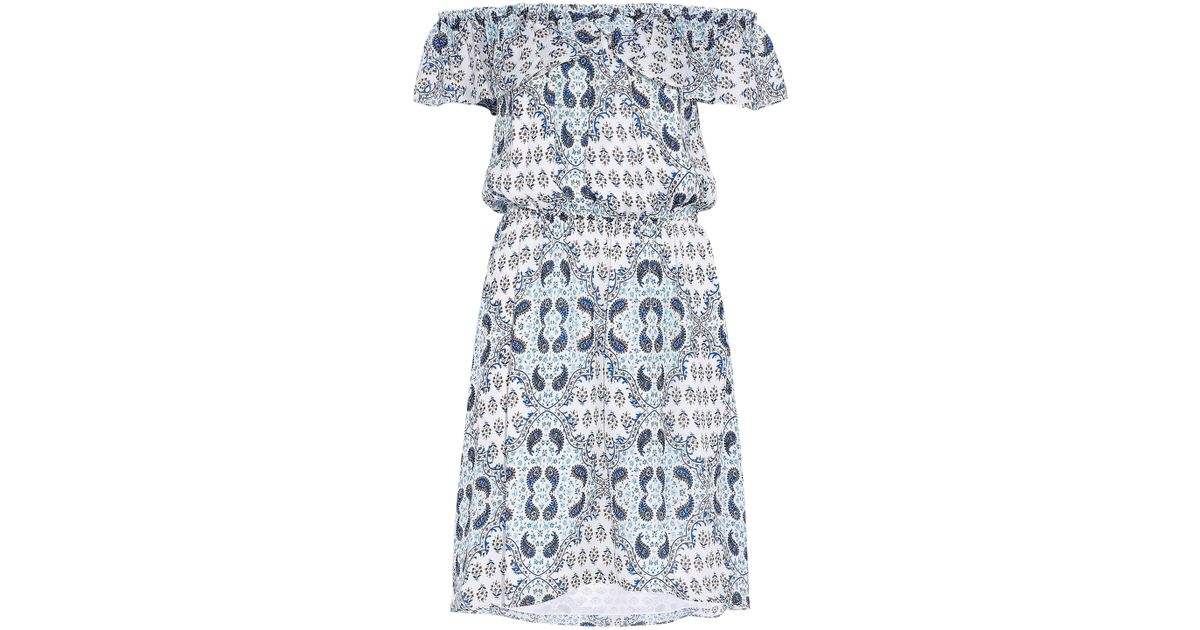 Clearance Top Quality Outlet With Paypal Order Online Lagence Woman Off-the-shoulder Ruffled Printed Silk Crepe De Chine Dress Light Blue Size L L'agence The Cheapest Sale Online Free Shipping New Arrival Clearance Outlet Store AlPdQqRI