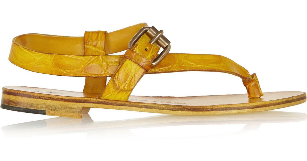 Yellow Crocodile Ariana Sandals - Yellow & Orange t9ZNTU6Uz