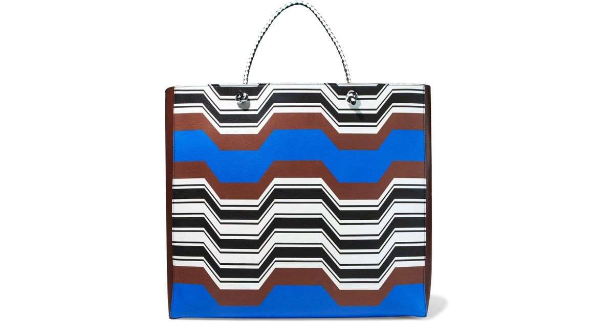 9e1be3d7a380e Missoni Printed Leather Tote Brown in Brown - Lyst