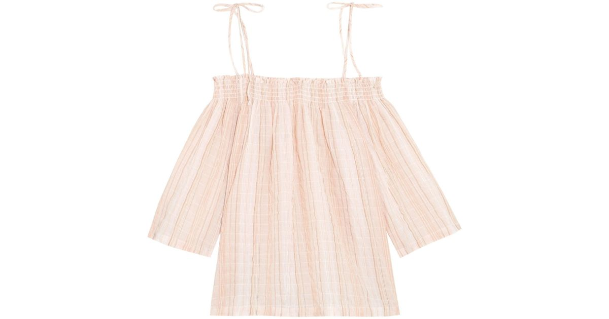 f440bb509fabc8 Lyst - Skin Off-the-shoulder Crinkled Cotton-blend Gauze Pajama Top