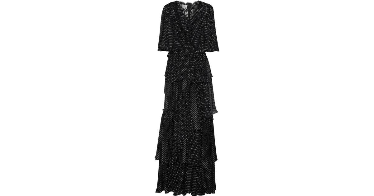 47bbf13cb20f6 Lyst - Dolce & Gabbana Woman Lace-paneled Tiered Polka-dot Chiffon Maxi  Dress Black in Black
