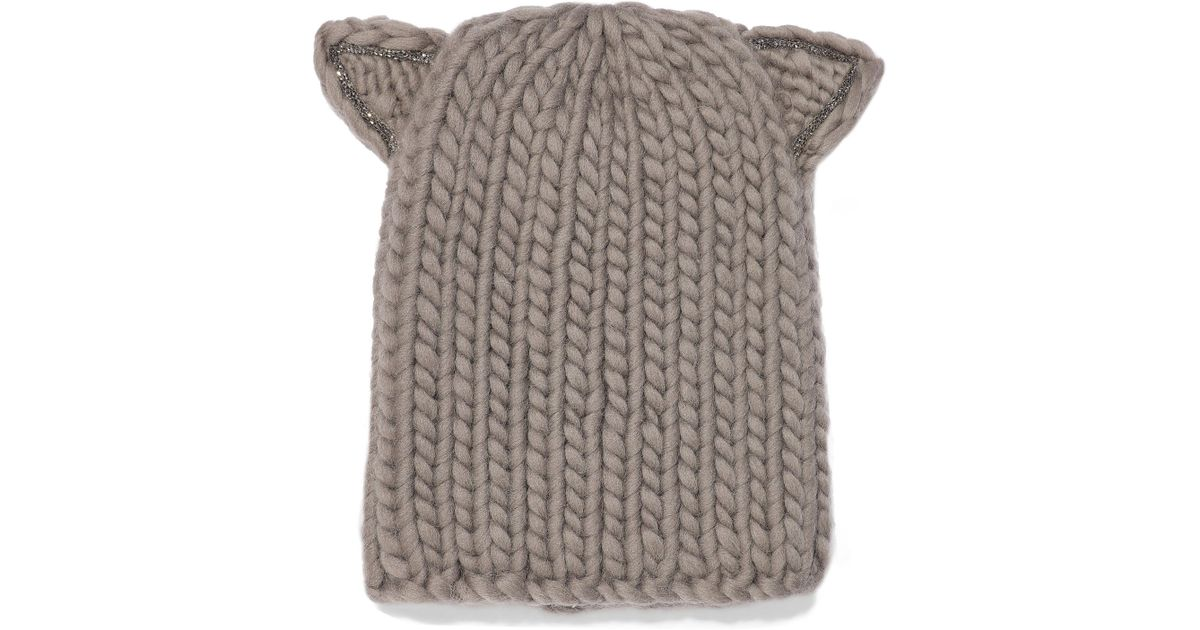 Eugenia Kim Felix Crystal-trimmed Cable-knit Wool Beanie in Gray - Lyst 121bf268ef4e