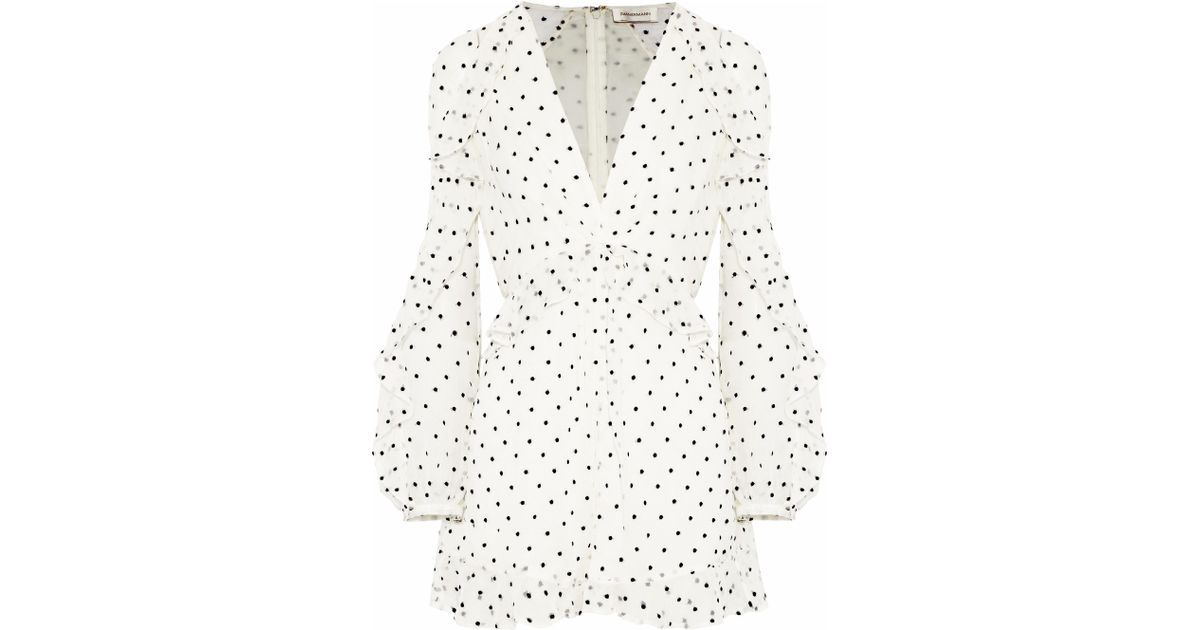 48c194c013 Lyst - Zimmermann Ruffle-trimmed Fil Coupé Silk-georgette Playsuit in White