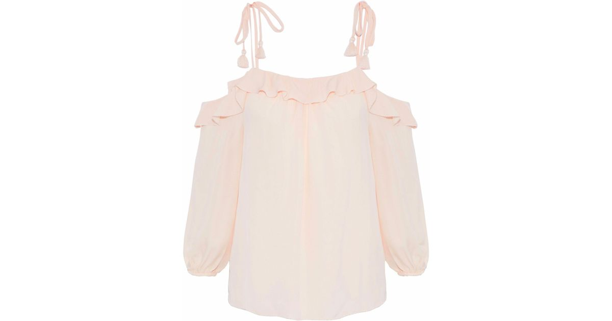 e7e24a1d34884d Lyst - Joie Eukene Cold-shoulder Ruffled Silk Crepe De Chine Top in Pink