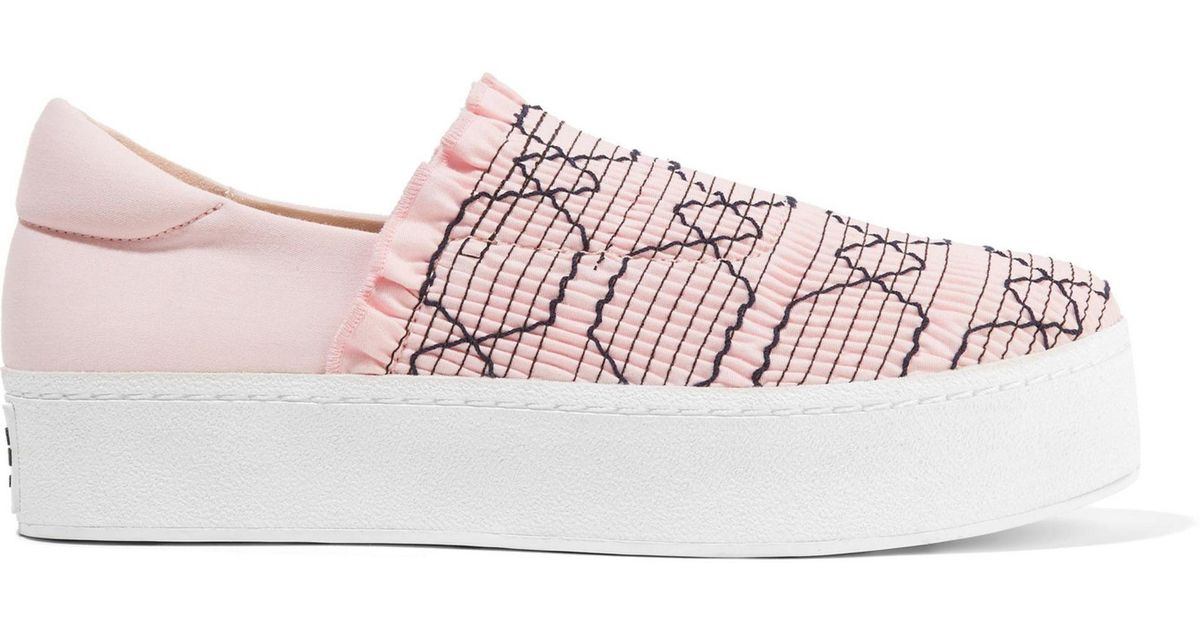 ee861d51af1f Opening Ceremony Woman Cici Shirred Embroidered Canvas Slip-on Platform  Sneakers Pastel Pink in Pink - Lyst