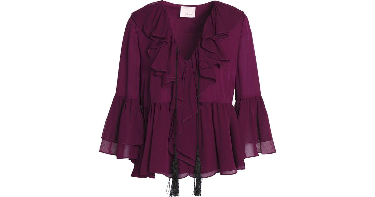0e36eb45ddfa4 Lyst - Cinq À Sept Pacifique Ruffled Silk-chiffon Peplum Blouse in Purple
