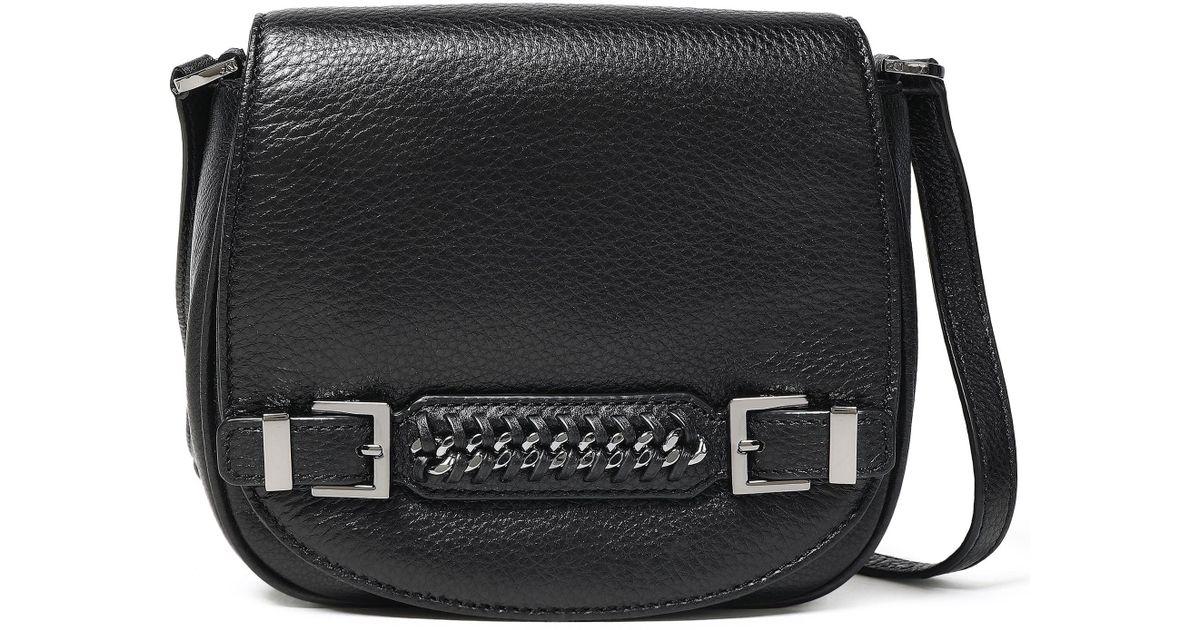 b1738799ccd0 Lyst - Diane von Furstenberg Woman Iggy Chain-embellished Textured-leather  Shoulder Bag Black in Black