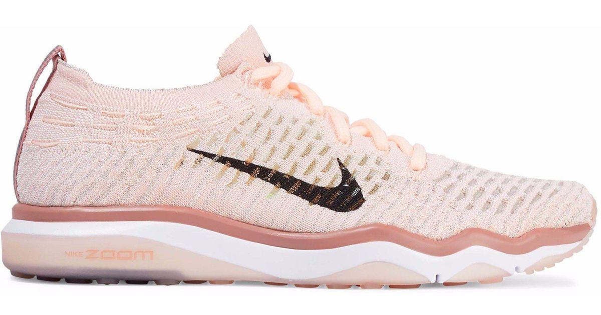 b60eaf02cc691 Nike Woman Air Zoom Fearless Flyknit Mesh Sneakers Pastel Pink