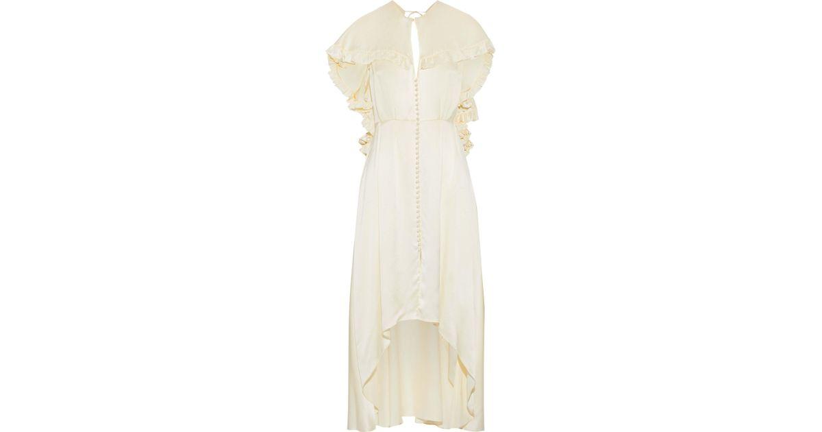 0a9ea23619 Magda Butrym Natural Avola Cape-effect Ruffled Silk-satin Midi Dress Cream