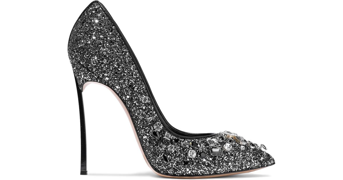 d9939d57ffe Lyst - Casadei Woman Crystal-embellished Glittered Leather Pumps Black in  Black