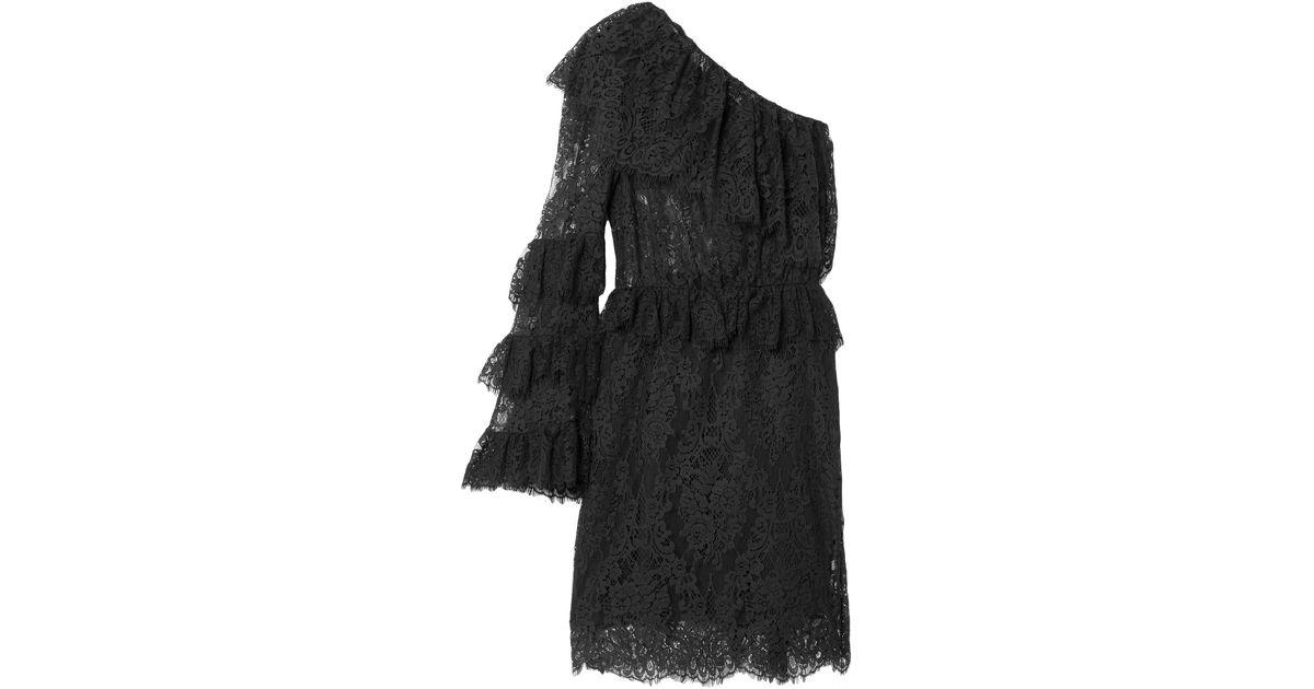 Dundas Ruffled One-shoulder Cotton-blend Lace Mini Dress