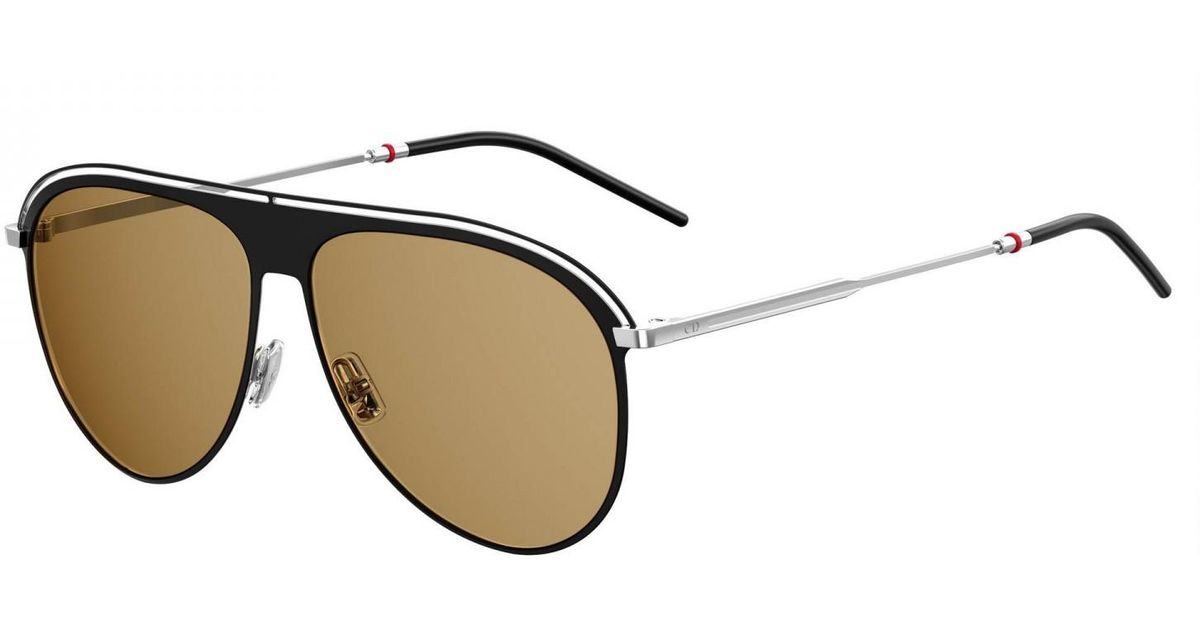 f017d195fe6 Dior Homme Black And Silver Aviator Double Ridge Frame With Brown Lenses  Sunglasses 0217s-71c 70-59 in Black for Men - Lyst