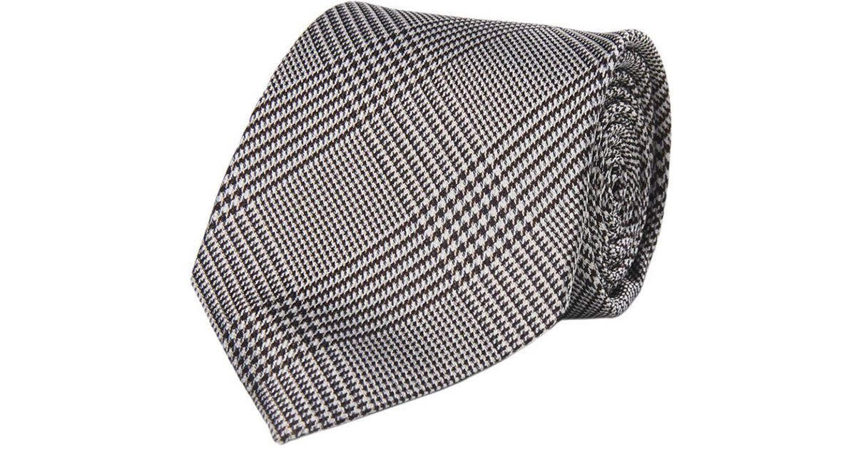 White and Brown Check Silk Tie Calabrese 1924 mPted0OLW