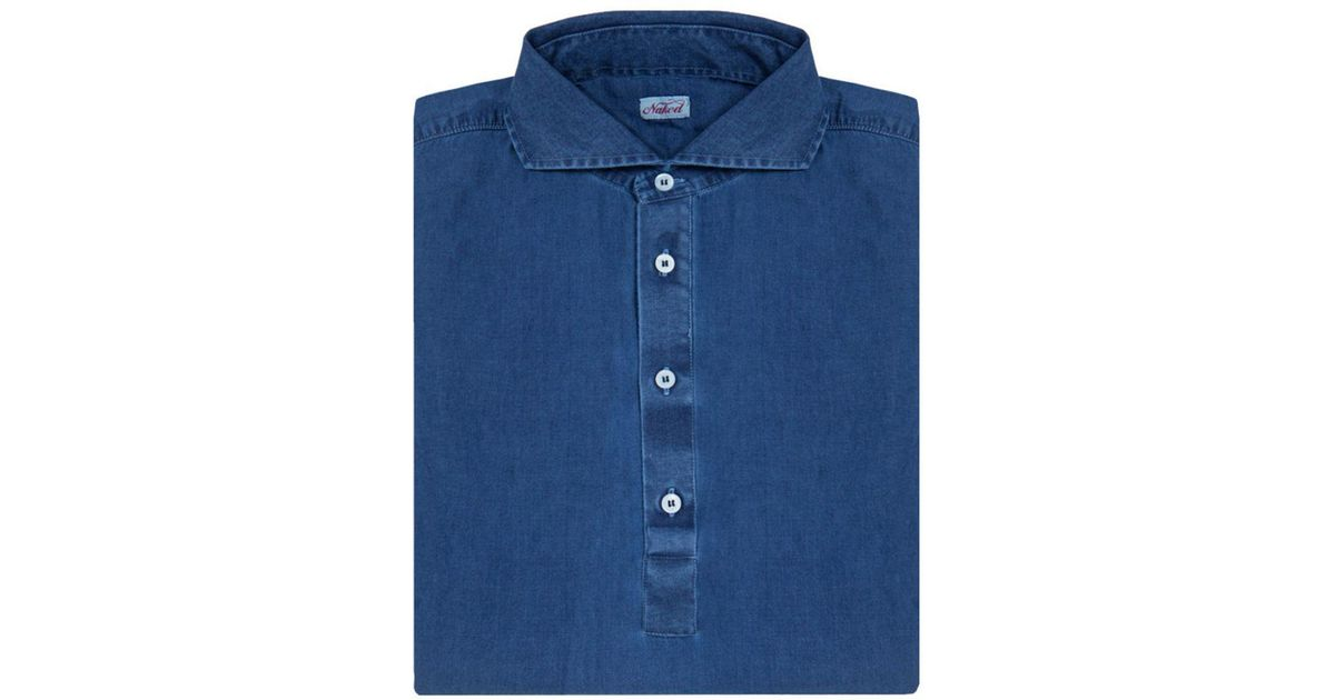 217e018c65f2 Lyst - Naked Clothing Royal Blue Long Sleeve Stone Washed Denim Polo Shirt  in Blue for Men