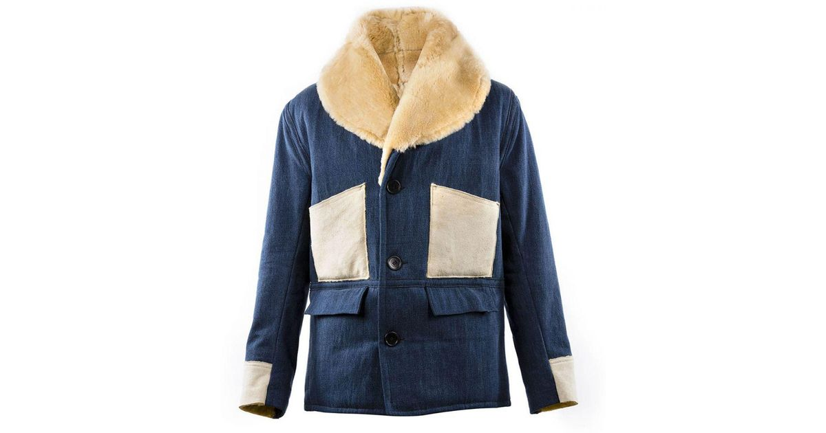fbaa2d53fab Lyst - Chapal Blue Morrison Denim And Shearling Jacket in Blue for Men