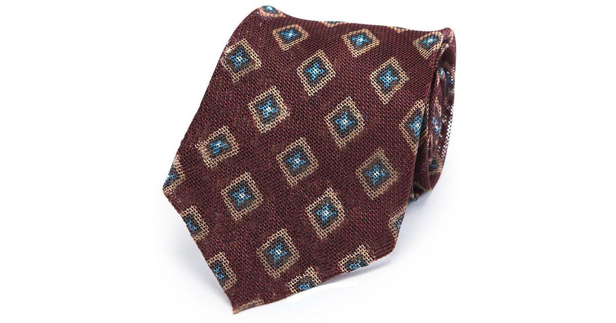 a891762ce59a Francesco Marino Burgundy Diamond Foulard Unlined Silk Tie in Purple for  Men - Lyst