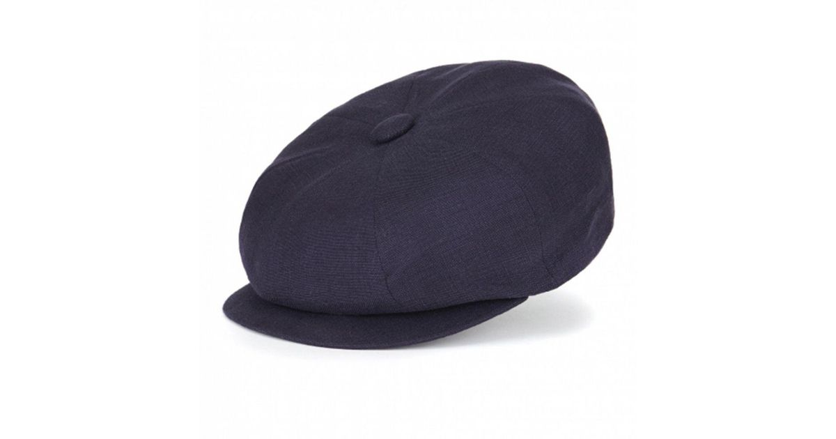 3d4de80f Lock & Co Blue Navy Muirfield Linen Flat Cap for men