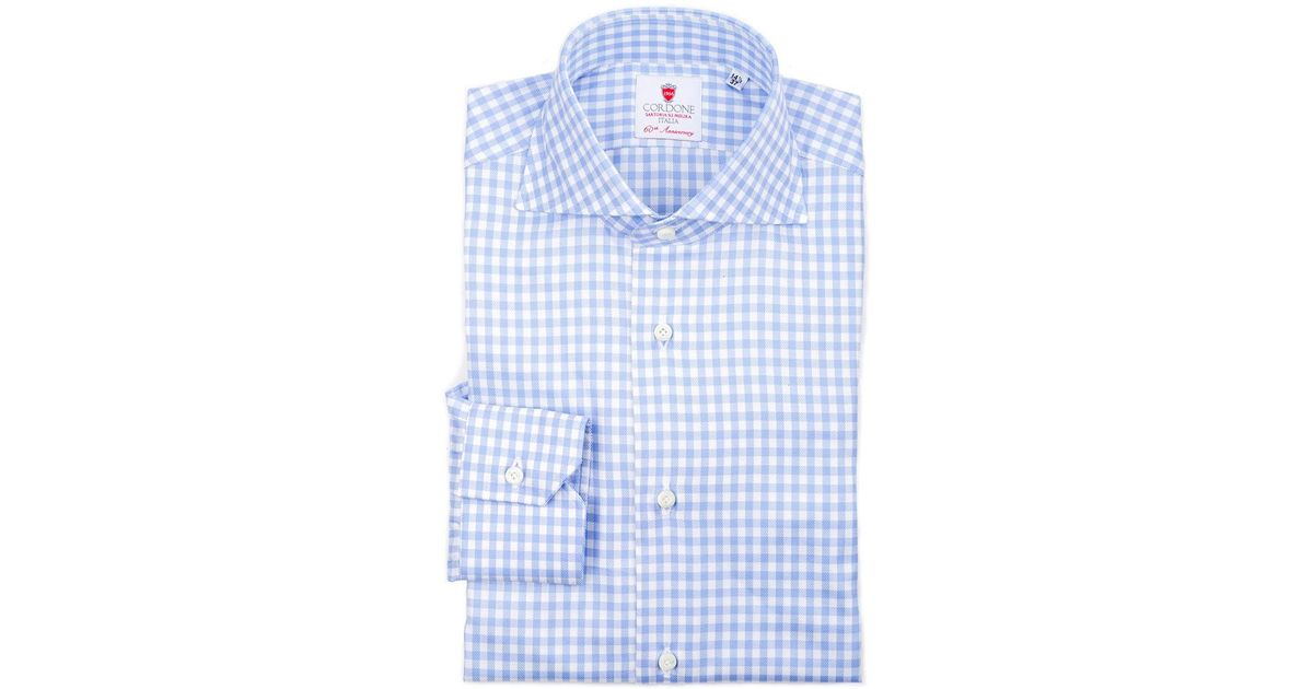 Buy Cheap Fast Delivery Blue and White Gingham Emperor 4 Cotton Shirt Cordone 1956 Low Cost Shop Offer Sale Online Latest Online mF95sD