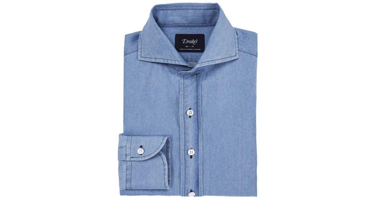38a2324b88e Lyst - Drake s Powder Blue Washed Denim Cutaway Collar Shirt in Blue for Men